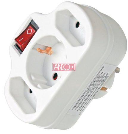 Adapter 2 + 1 kapcsolóval, fehér
