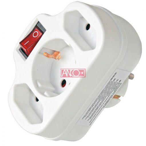 Combi adapter, 2+1 fold, white