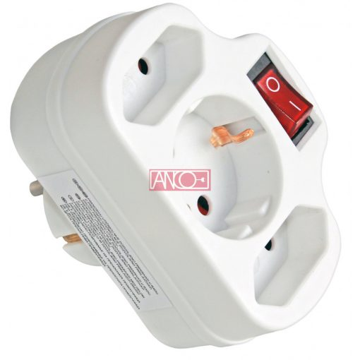 3-way adapter 2+1 with switch