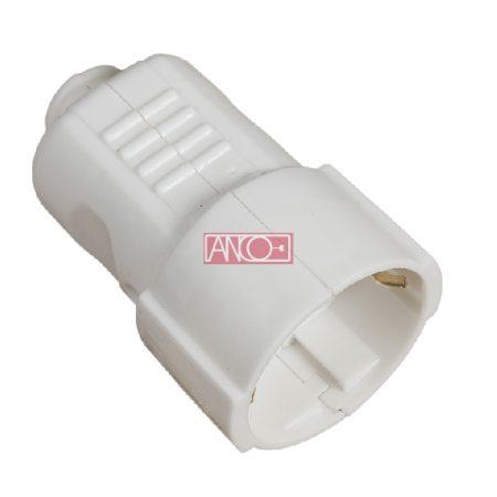 Földelt PVC lengő dugalj, fehér