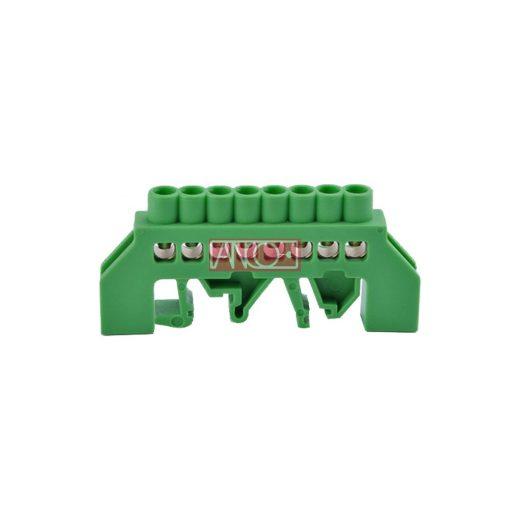 Szigetelt földelősín PE8, zöld