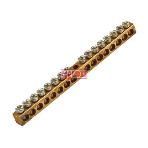 Non-insulated brass busbar, 16 pole, 10 cm
